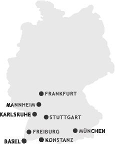 Unsere Stanorte: Freiburg, Stuttgart, Karlsruhe, Basel, Frankfurt, Mannheim, Konstanz, München